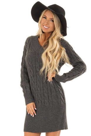 Charcoal Cable Knit Sweater Dress front close up