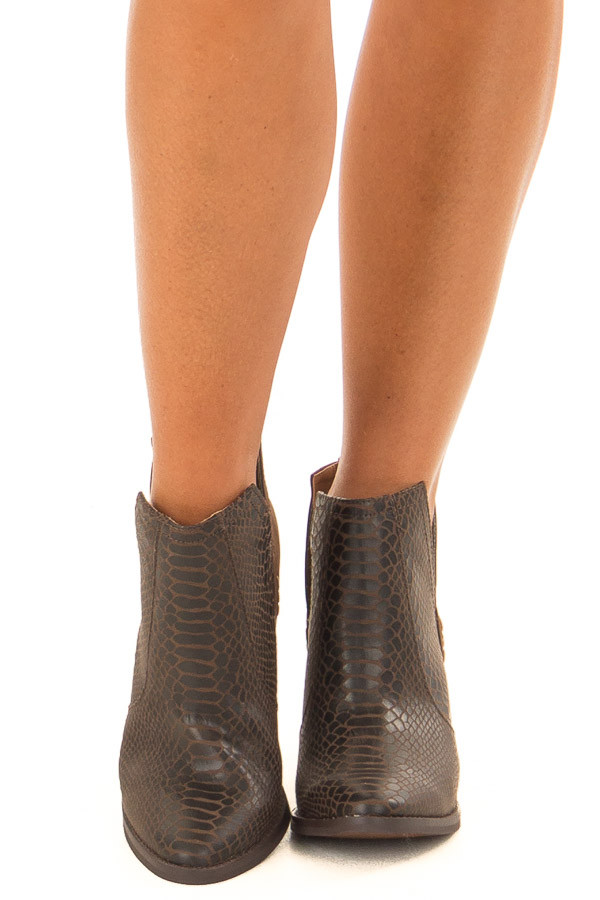 Carob Snake Skin and Faux Suede Heeled Bootie front full body