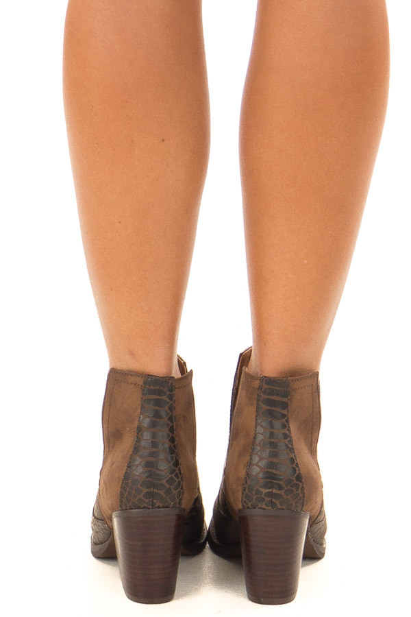 Carob Snake Skin and Faux Suede Heeled Bootie back full body