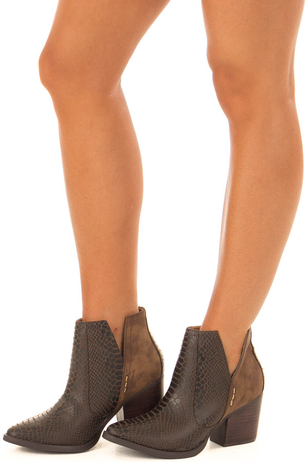 Carob Snake Skin and Faux Suede Heeled Bootie front side full body