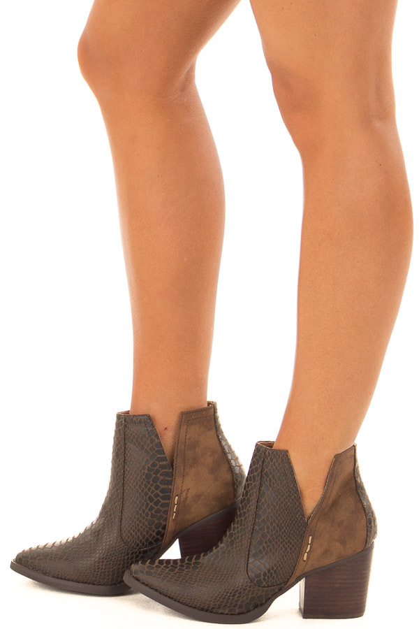 Carob Snake Skin and Faux Suede Heeled Bootie side full body
