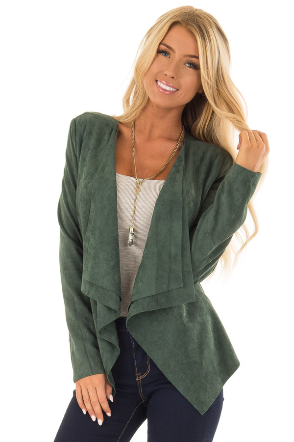 Hunter Green Faux Suede Open Front Draped Jacket front close up