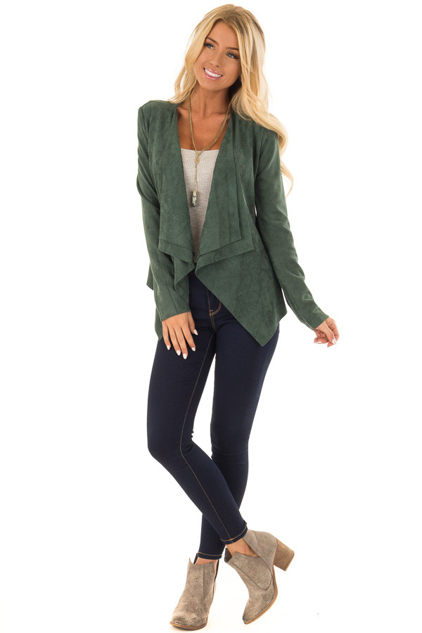 Hunter Green Faux Suede Open Front Draped Jacket front full body