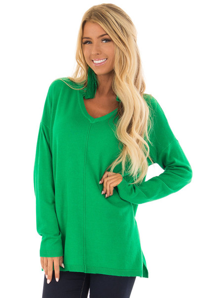 Kelly Green V Neck Long Sleeve Sweater front close up