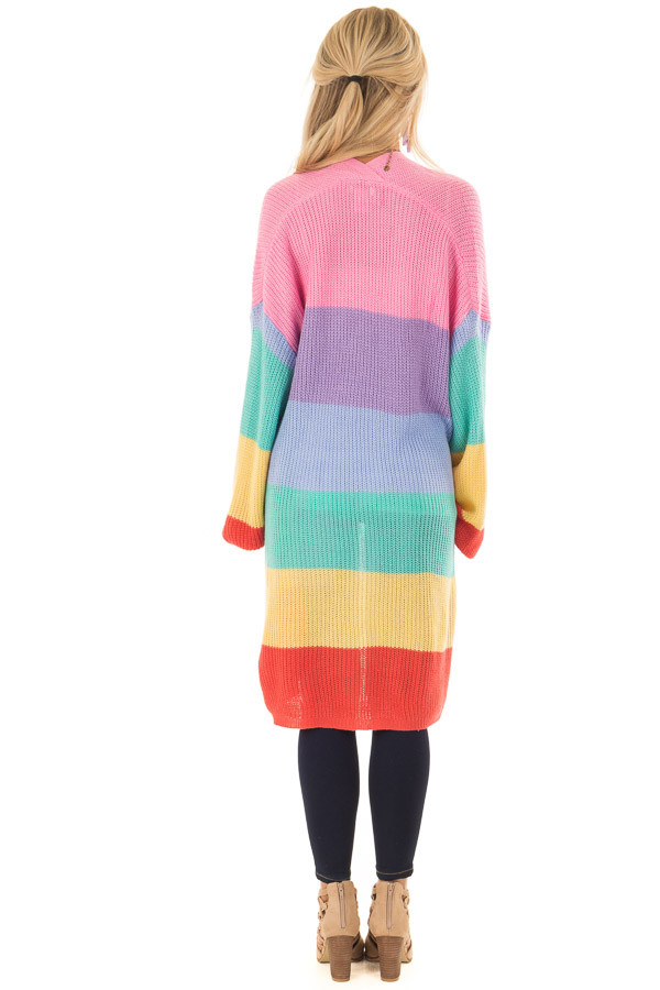 Rainbow Striped Loose Knit Open Front Cardigan back full body