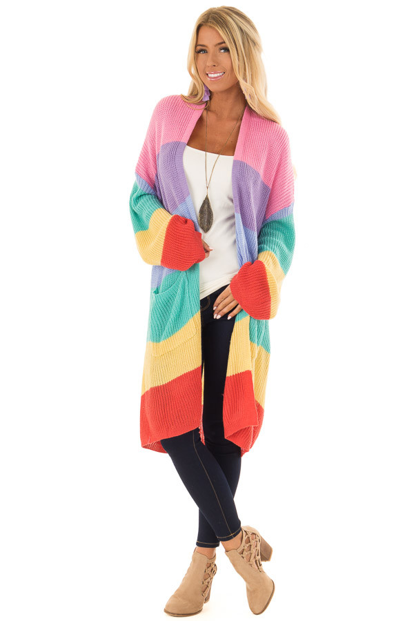 Rainbow Striped Loose Knit Open Front Cardigan front full body