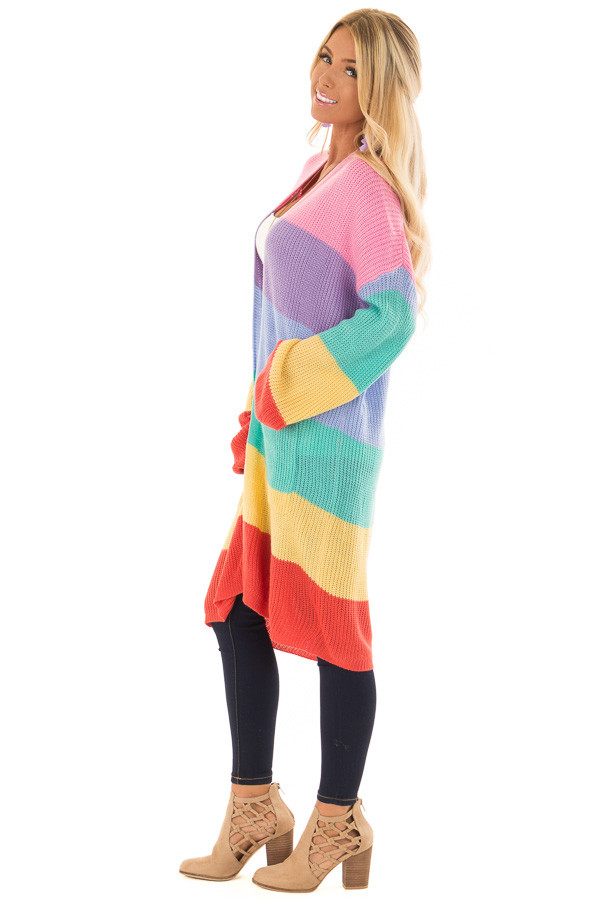 Rainbow Striped Loose Knit Open Front Cardigan side full body