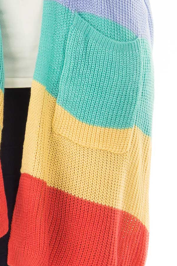 Rainbow Striped Loose Knit Open Front Cardigan detail