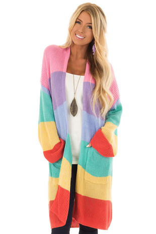 Rainbow Striped Loose Knit Open Front Cardigan front close up