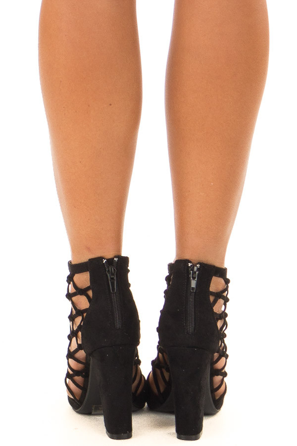 Midnight Black Faux Suede High Heels with Knotted Detail back view