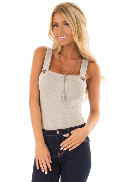 Warm Heather Grey Ribbed Bodysuit with Button Detail front close up