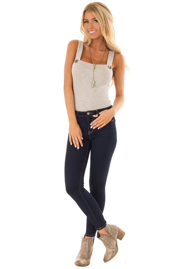 Warm Heather Grey Ribbed Bodysuit with Button Detail front full body