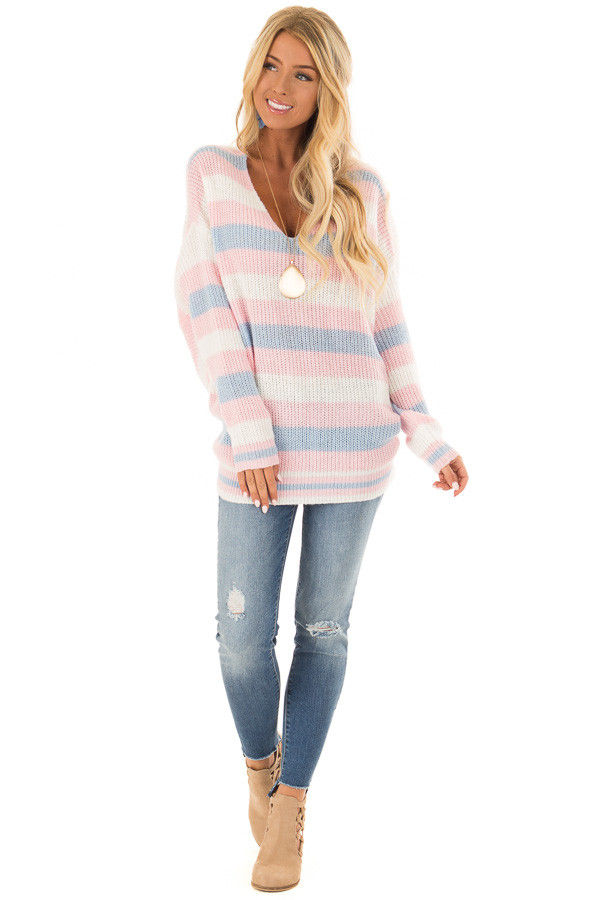 Multi Striped Knit Sweater with Back Twist Detail front full body