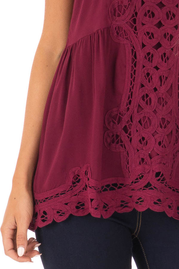 Dark Wine Tank Top with Crochet Front and Scalloped Hem detail