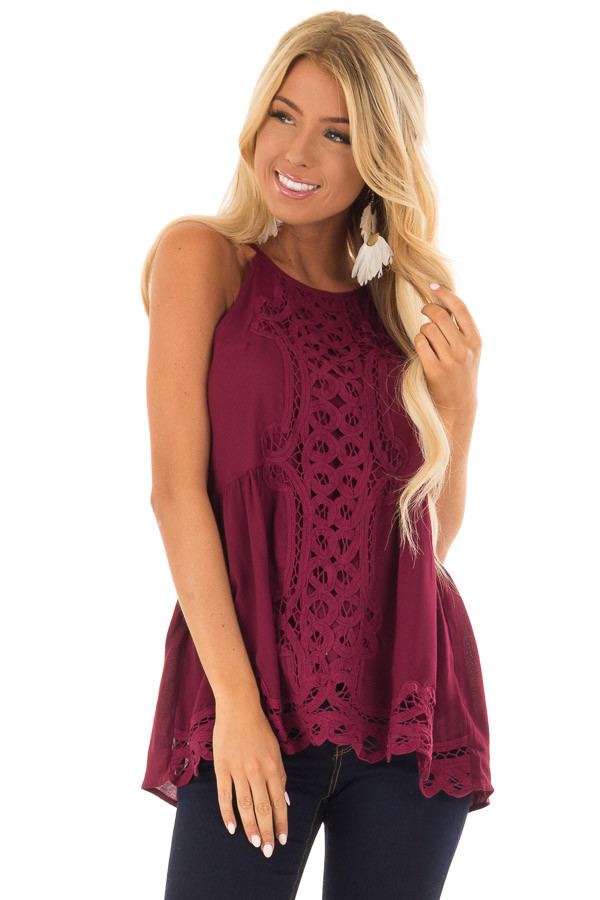 Dark Wine Tank Top with Crochet Front and Scalloped Hem front close up