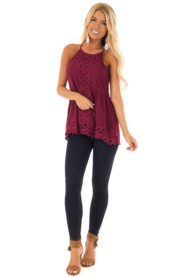 Dark Wine Tank Top with Crochet Front and Scalloped Hem front full body
