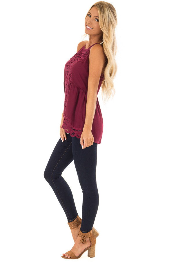 Dark Wine Tank Top with Crochet Front and Scalloped Hem side full body
