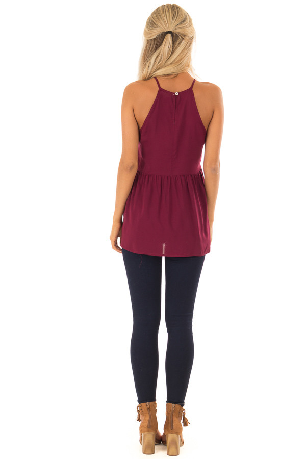 Dark Wine Tank Top with Crochet Front and Scalloped Hem back full body