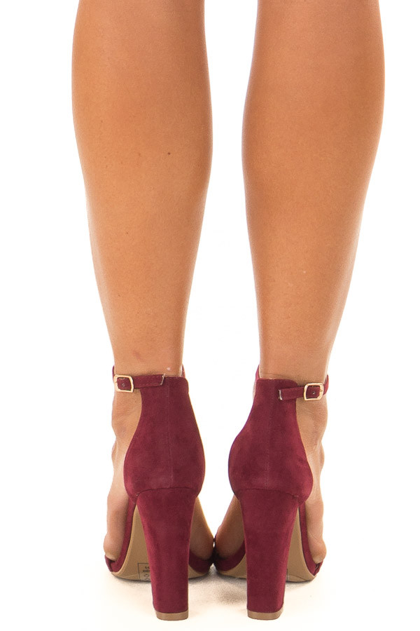 Merlot Faux Braided Velvet Sandal High Heels with Ankle Strap back view