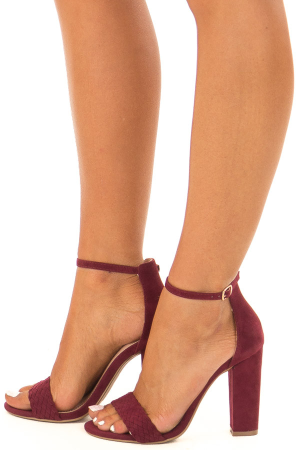 Merlot Faux Braided Velvet Sandal High Heels with Ankle Strap side view