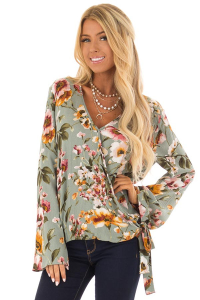 Dusty Blue Floral Print Long Sleeve Wrap Top with Tie Detail front close up