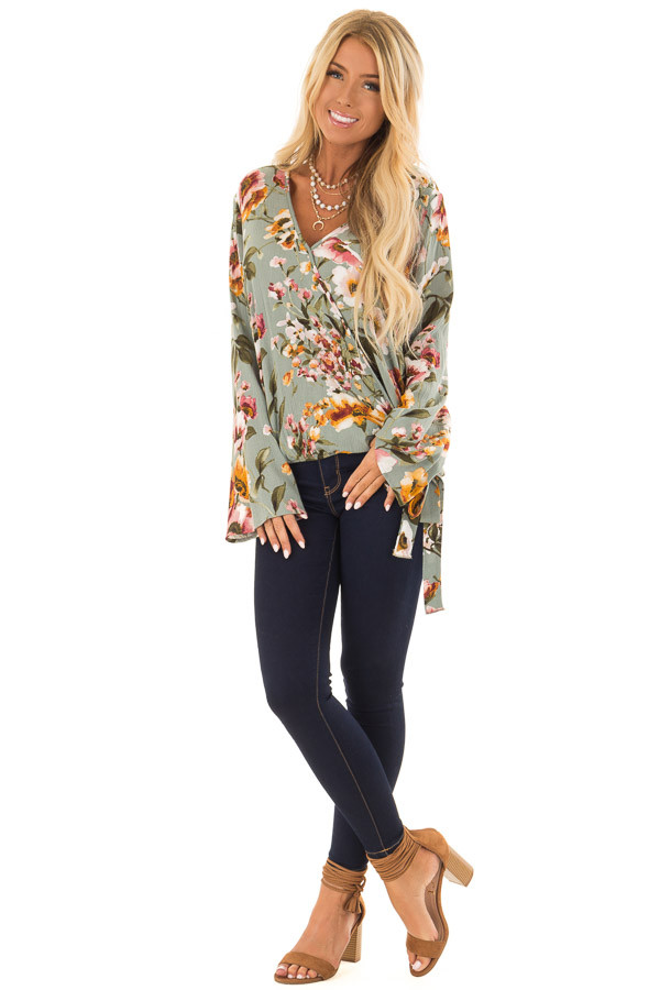 Dusty Blue Floral Print Long Sleeve Wrap Top with Tie Detail front full body