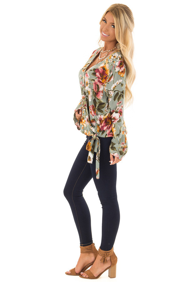 Dusty Blue Floral Print Long Sleeve Wrap Top with Tie Detail side full body