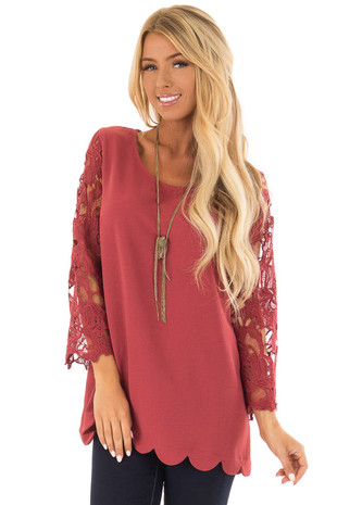 Marsala Lace Sleeve Top with Scalloped Hem front close up