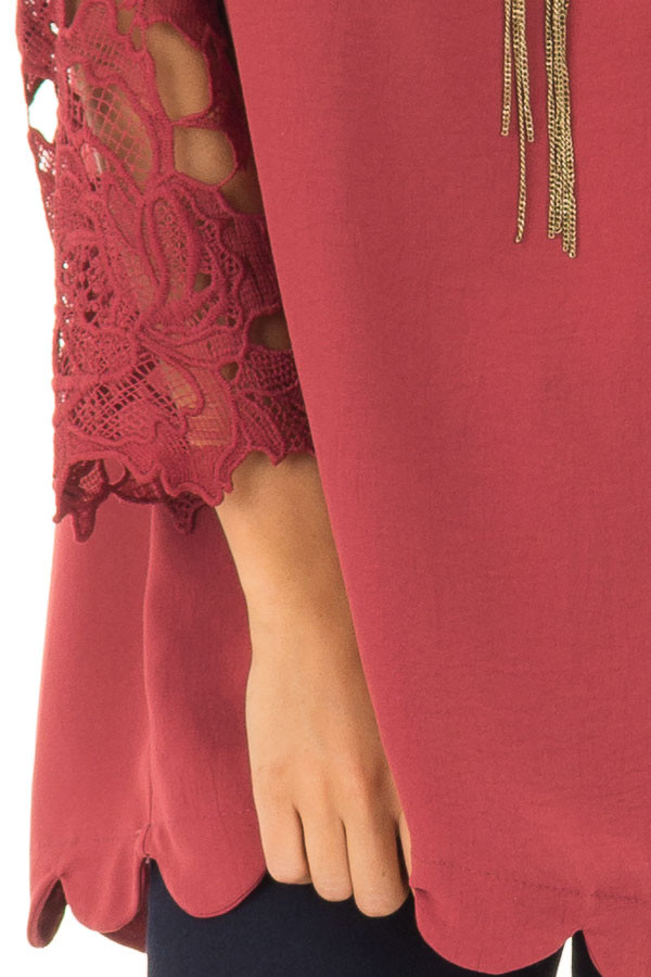 Marsala Lace Sleeve Top with Scalloped Hem detail