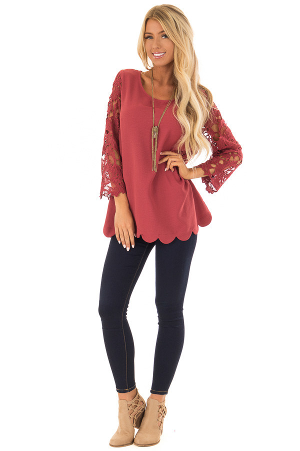 Marsala Lace Sleeve Top with Scalloped Hem front full body