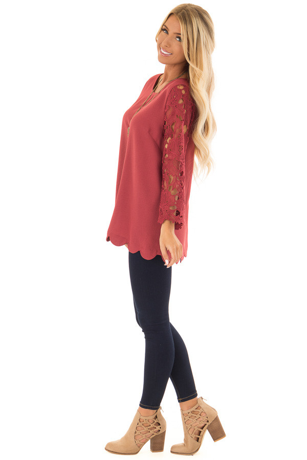Marsala Lace Sleeve Top with Scalloped Hem side full body