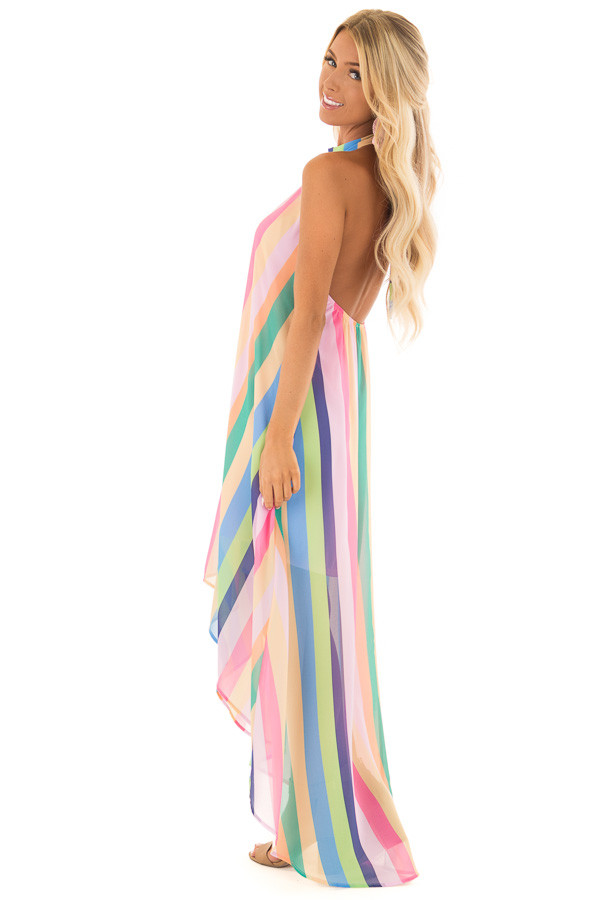 Multi Color Striped Hi Low Halter Dress with Neck Tie side full body