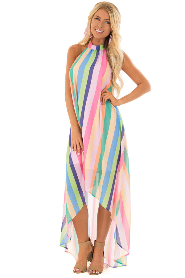 Multi Color Striped Hi Low Halter Dress with Neck Tie front full body