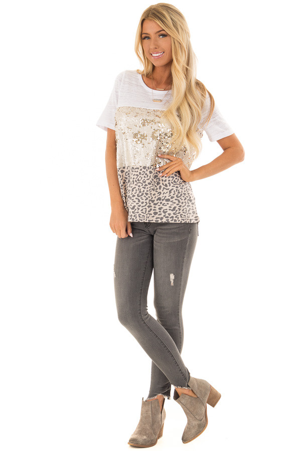 Champagne Leopard and Gold Sequin Color Block Top front full body