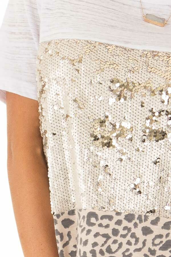 Champagne Leopard and Gold Sequin Color Block Top detail