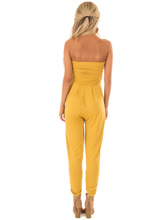 Honey Strapless Jumpsuit with Ruched Edge Details back full body