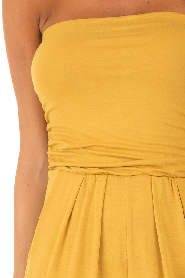Honey Strapless Jumpsuit with Ruched Edge Details detail
