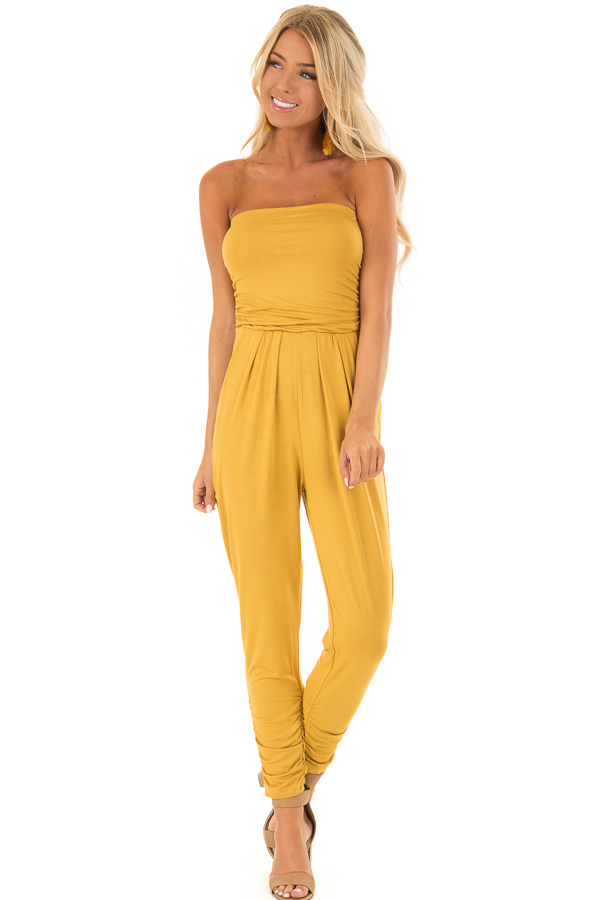 Honey Strapless Jumpsuit with Ruched Edge Details front full body