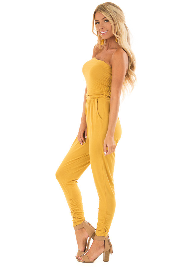 Honey Strapless Jumpsuit with Ruched Edge Details side full body