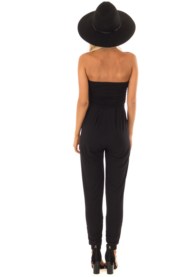 Raven Black Strapless Jumpsuit with Ruched Edge Details back full body