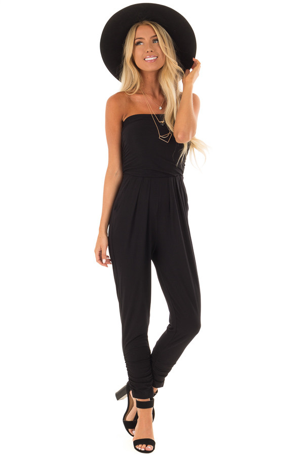 Raven Black Strapless Jumpsuit with Ruched Edge Details front full body