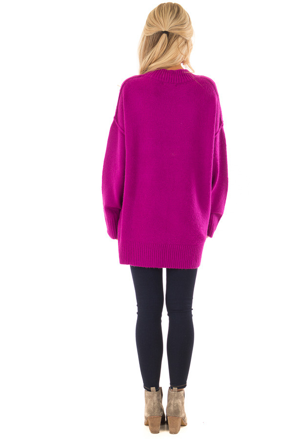 Magenta Reverse Seam Sweater with Side Slits back full body