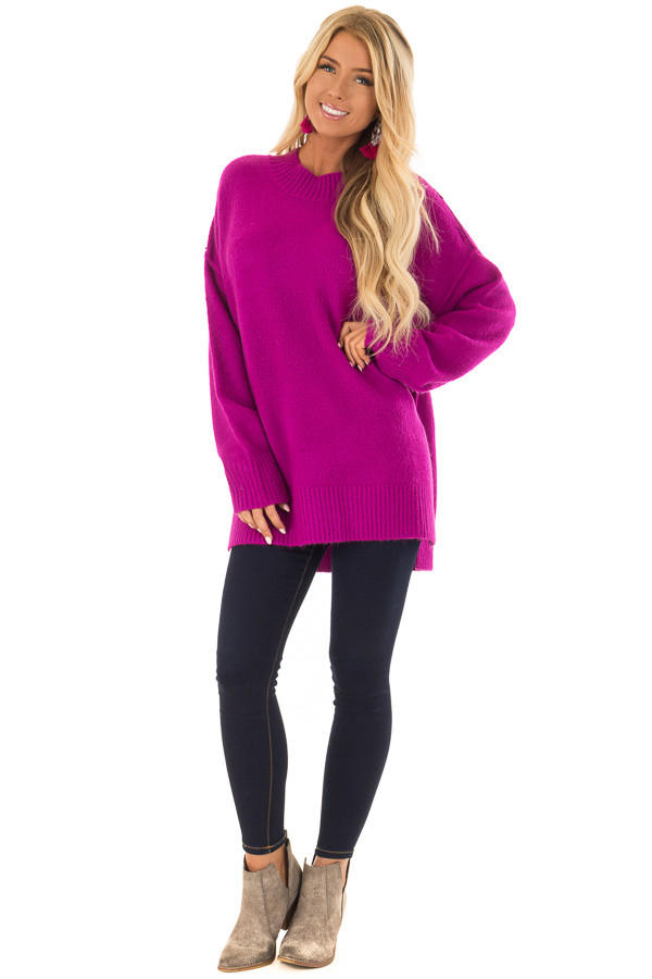 Magenta Reverse Seam Sweater with Side Slits front full body