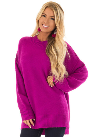 Magenta Reverse Seam Sweater with Side Slits front close up