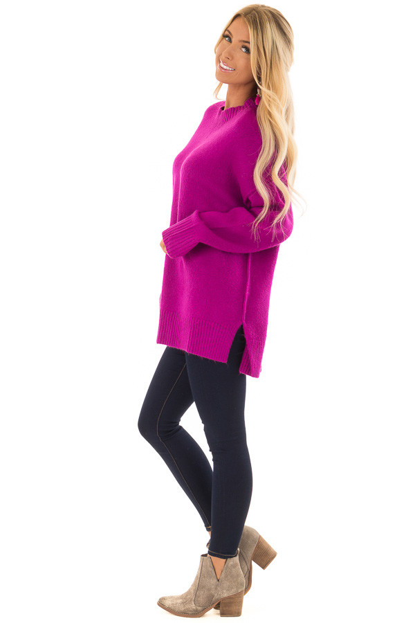 Magenta Reverse Seam Sweater with Side Slits side full body