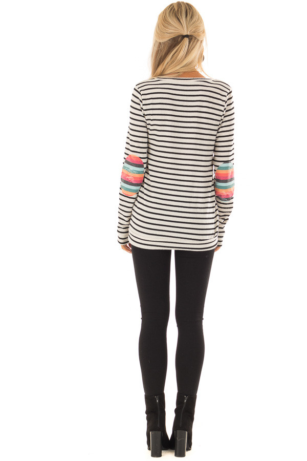 Cream Striped Top with Distressed Multicolor Elbow Patches back full body