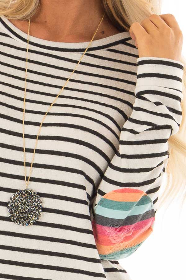 Cream Striped Top with Distressed Multicolor Elbow Patches detail