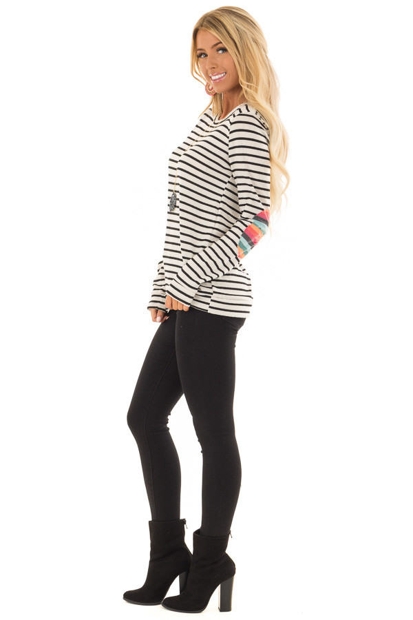 Cream Striped Top with Distressed Multicolor Elbow Patches side full body