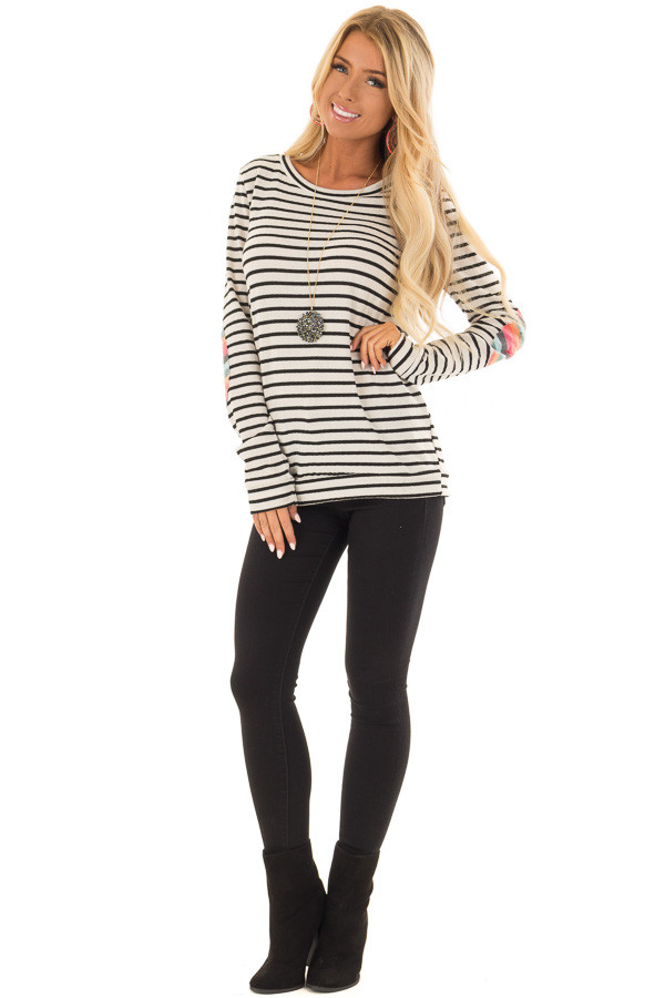 Cream Striped Top with Distressed Multicolor Elbow Patches front full body