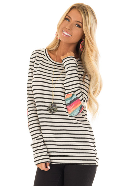 Cream Striped Top with Distressed Multicolor Elbow Patches front close up